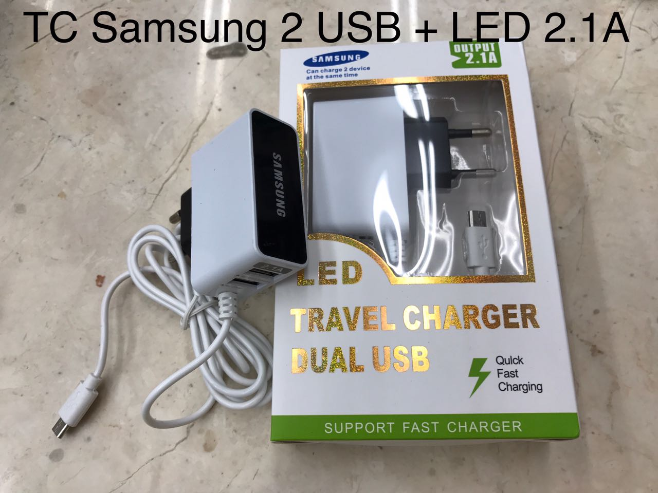 Charger Samsung 2 USB + LED 2.1A