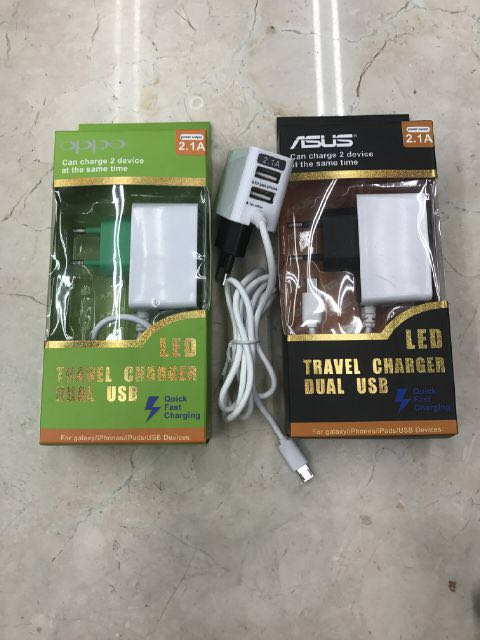 Charger Branded 2 USB + LED 2.1A