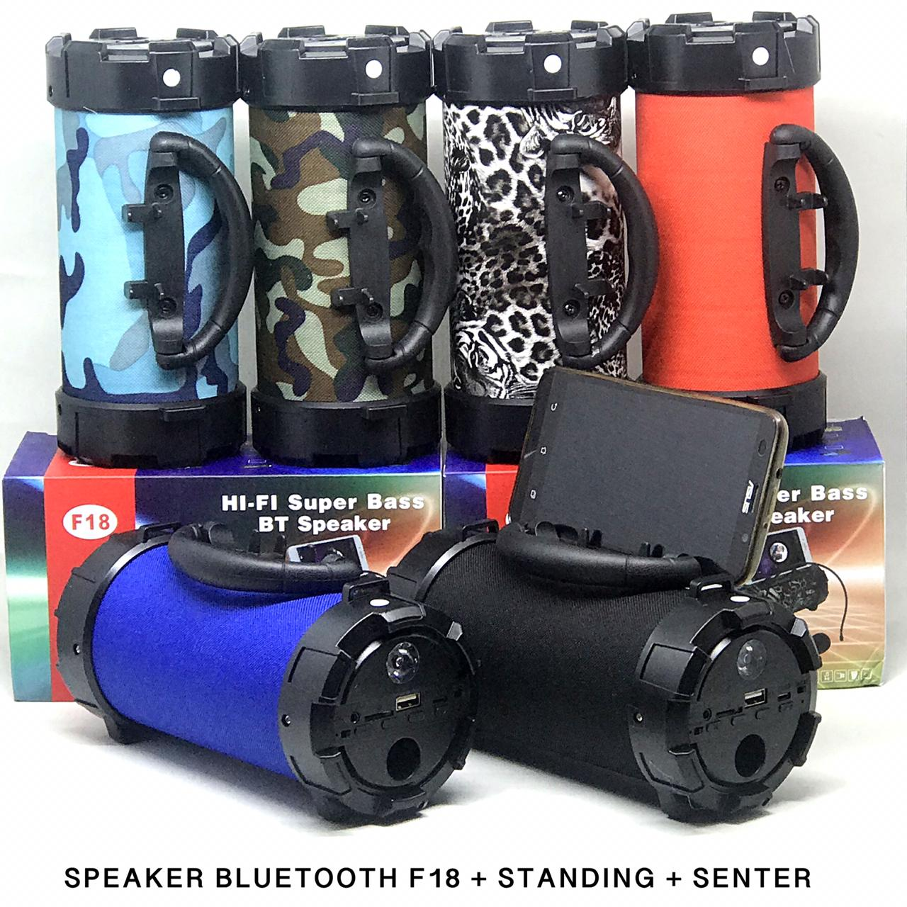 Speaker Bluetooth F18 + standing + Senter