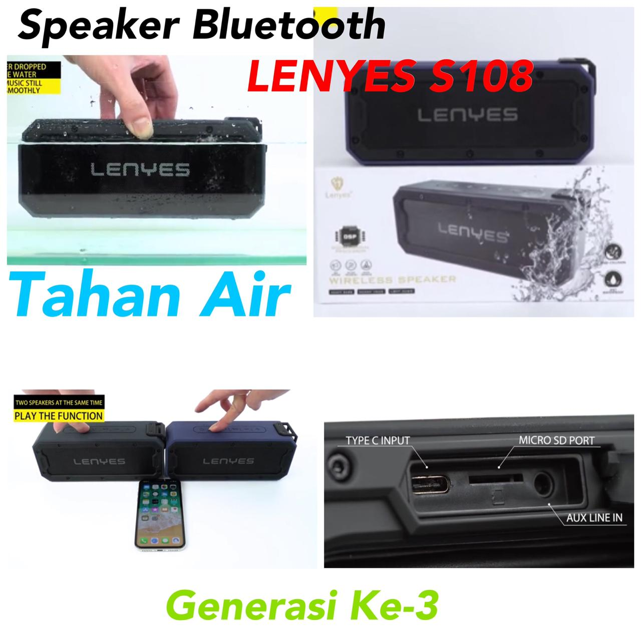 Speaker Bluetooth Tahan Air LENYES S108 Original
