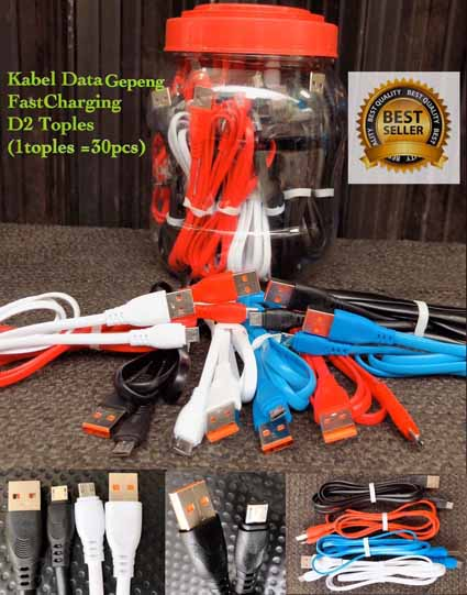 Kabel Data Toples D2 Gepeng Fast Charging