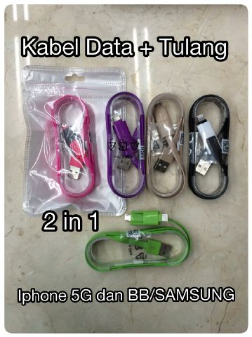 Kabel Data Tulang 2 in 1