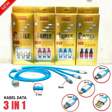 Kabel Data Besi 3 in 1 (New)