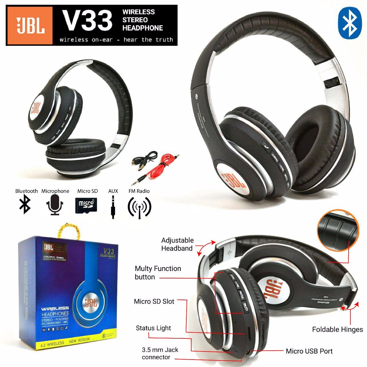 Headset Bando Bluetooth JBL V33 (New)